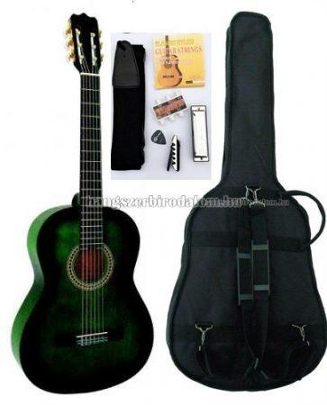 MSA zöld klasszikus gitár sok kiegészítővel, C27