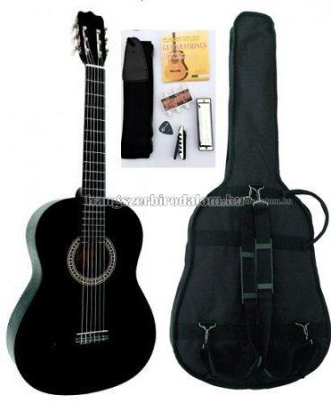 MSA fekete klasszikus gitár sok kiegészítővel, C21