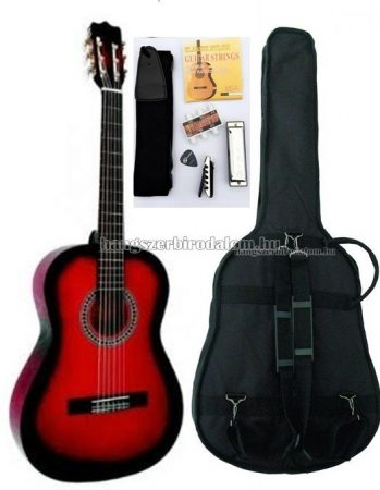 MSA piros klasszikus gitár sok kiegészítővel, C24