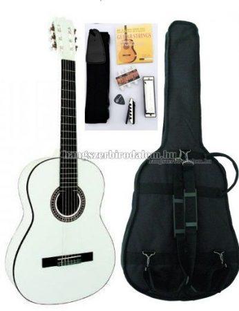 MSA fehér klasszikus gitár sok kiegészítővel, C26