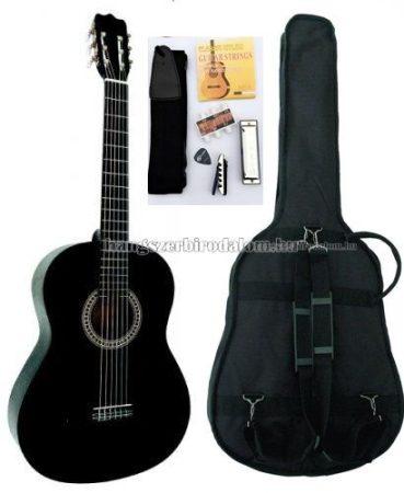 MSA fekete klasszikus balkezes gitár sok kiegészítővel, CK 110 L