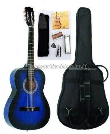 MSA kék klasszikus balkezes gitár sok kiegészítővel, CK 120 L