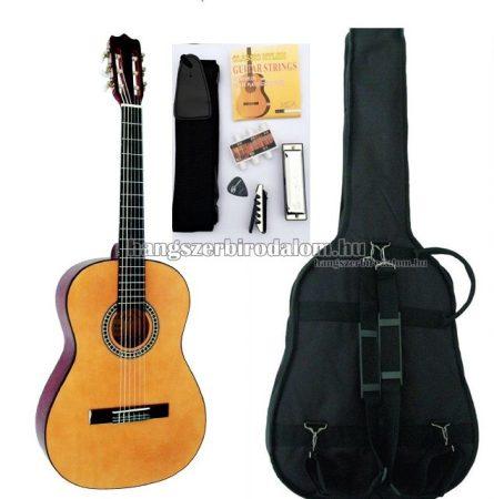 José Ribera HG67 natúr klasszikus gitár sok kiegészítővel, tömör fa