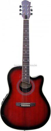 MSA Roundback elektroakusztikus gitár, piros