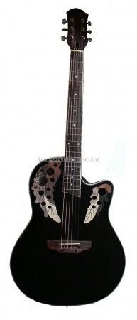 MSA Roundback elektroakusztikus gitár, fekete, mintás