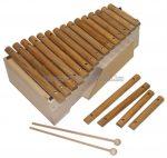 Orff 2 oktávos dobozos xilofon egzóta fából, ütőkkel