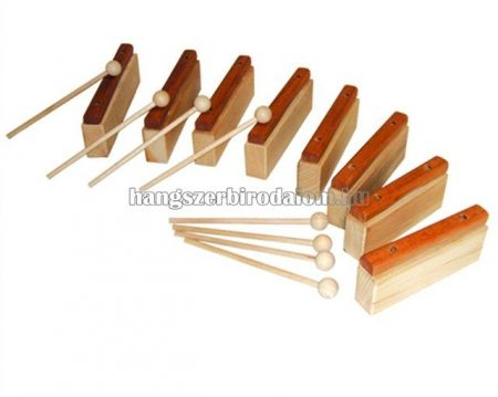 Orff hangokra szedhető xilofon egzóta fából, 8 ütővel